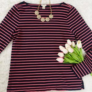 J. Crew Long Sleeved Striped Blue & Pink Top